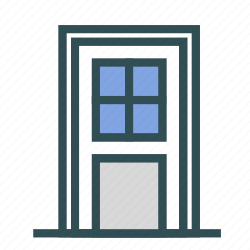 door, entrance, glass, house, vintage icon