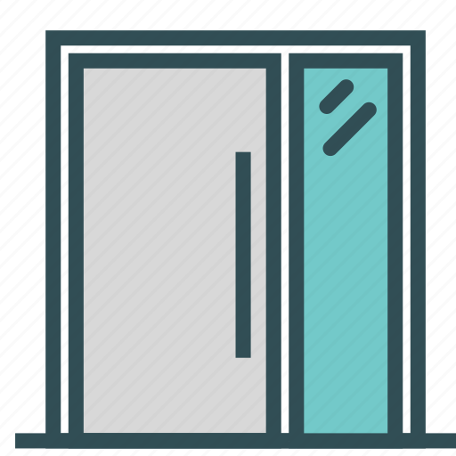door, entrance, glass, house, modern icon