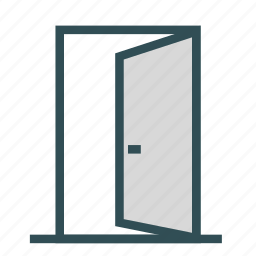door, entrance, opened, outside icon