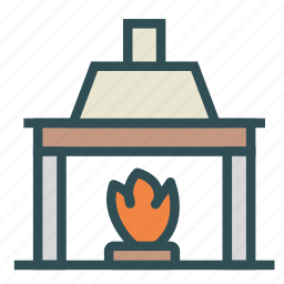 chimney, fire, fireplace, home, house icon