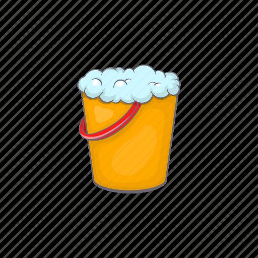 bucket, cartoon, clean, equipment, foam, tool, work icon