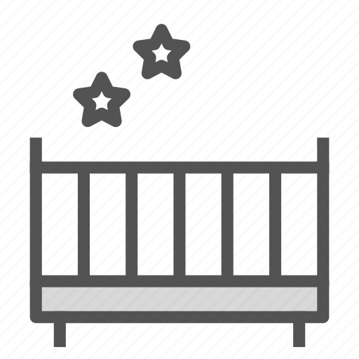 baby, bed, cradle, furniture, star icon
