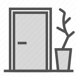 apartment, decoration, door, entrance, house, plant icon