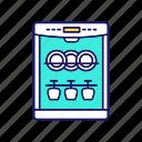 automatic, cutlery cleaning, dish, dishware, dishwasher, kitchen appliance, washing icon