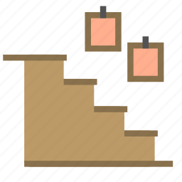 decoration, home, house, lamp, stairs, upstairs icon