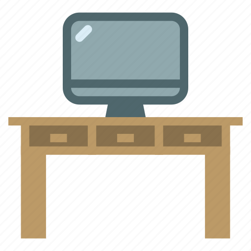 desk, furniture, home, house, table, television, tv icon