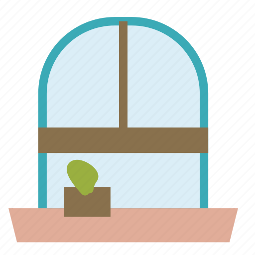flower, house, old, plant, window icon