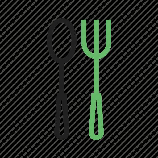 cutlery, food, fork, metal, restaurant, silver, spoon icon