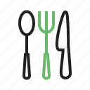 cutlery, fork, kitchen, knife, silverware, spoon, utensil icon