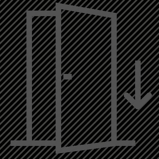 arrow, door, entrance, inside, opened icon