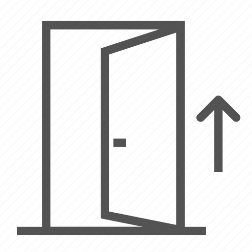 arrow, door, entrance, opened, outside icon