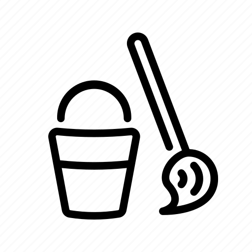 bucket, cleaning, household, mop, mop and pail, wash, wash floors icon