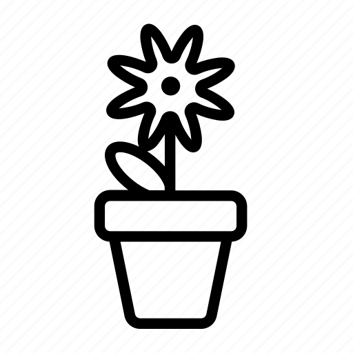 flower, flower pot, household, plant, pot, potted plant icon