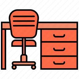 chair, furniture, office, table icon icon