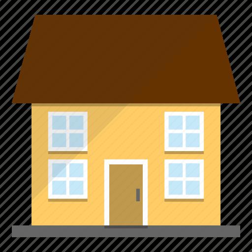 estate, house, neighborhood, yellow icon