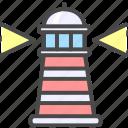 lighthouse, shore beacon, tower icon