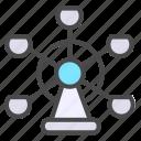 ferris wheel, park, playground icon