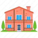 ancient style home, architecture, house style, redbrick house, vintage house icon
