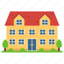 cottage home, house yard, multi-storey house, residential flats icon