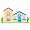 countryside home, farmhouse, home building, connected farmhouse, home architecture icon