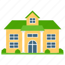 architecture, countryside house, estate logo, home yard, house exterior icon