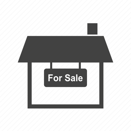 building, estate, home, house, real, sale, sign icon