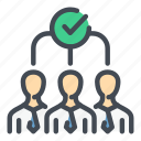 check, done, group, people, success, team, teamwork icon