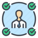 check, environment, man, people, person, success, tick icon
