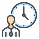 business, clock, employee, person, schedule, time, watch icon