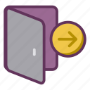 dismissal, door, fired, open, redundancy, resignation icon