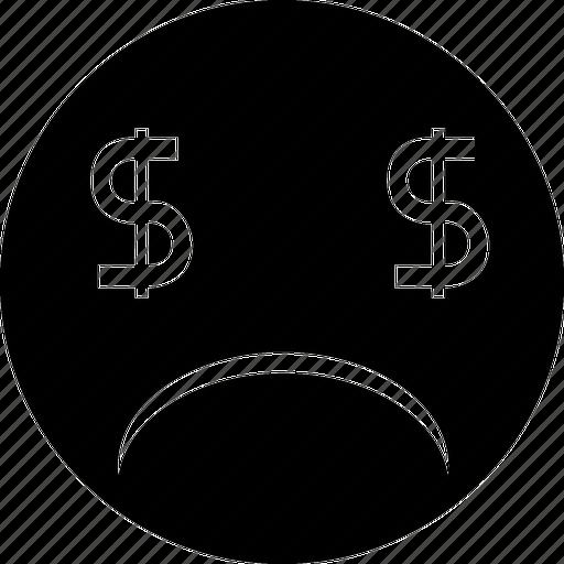 bankrupt, casino, crime, debit, debt, dollars, no money, null, shopping, smile, zero icon