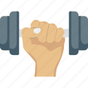 arm, dumbbell, exercise, fitness, gym icon