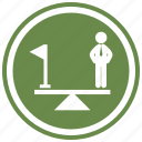 balance, balanced, balancing, flag, object, person, scale icon