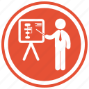 board, business, businessman, graphic, pointing, presentation, presenting icon