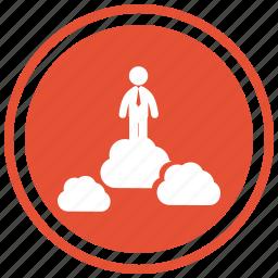 business, businessman, cloud, clouds, internet, man, symbol icon