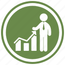 ascending, business, businessman, graph, graphic, person icon
