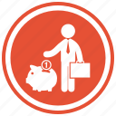 bank, coin, man, money, piggy, save, saving, suitcase icon