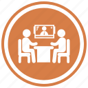 business, businessmen, meeting, monitor, screen, table icon