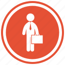 business, people, person, portfolio, standing, suitcase icon