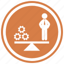 balance, balancing, business, gears, man, scale, symbol, wheels icon