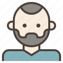 avatar, bald, beard, facial, hair, man, skinhead icon