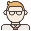 avatar, businessman, employee, glasses, man, tie icon
