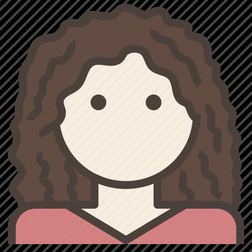 avatar, curly, fluffy, hair, woman icon