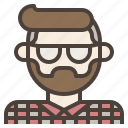 avatar, beard, facial, glasses, hair, hipster, man