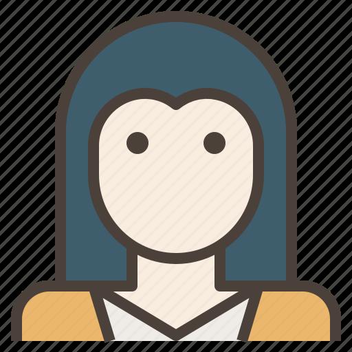 avatar, face, hair, heart, long, woman icon