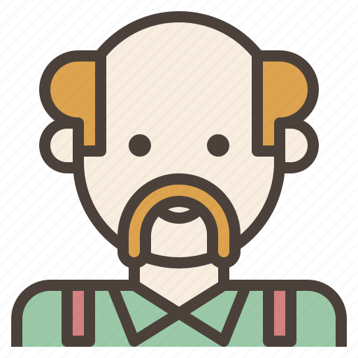 avatar, bald, grey, hair, man, mustache, old icon