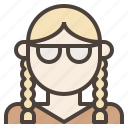 avatar, braid, girl, glasses, pigtail, plait, woman icon