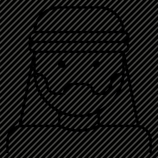 arab, avatar, beard, facial, hair, man, turban icon