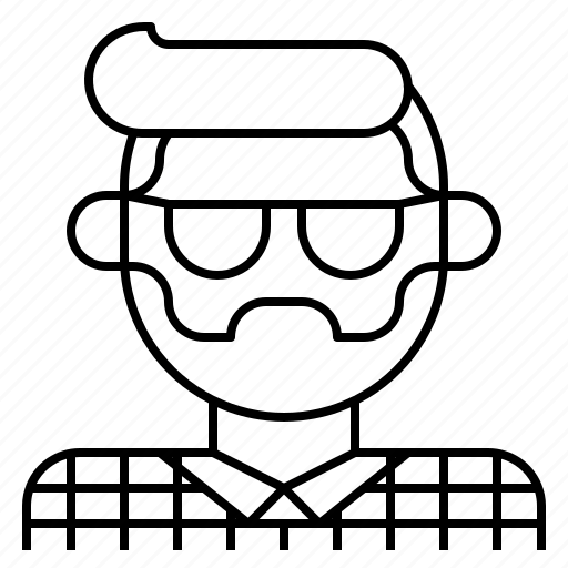 avatar, beard, facial, glasses, hair, hipster, man icon