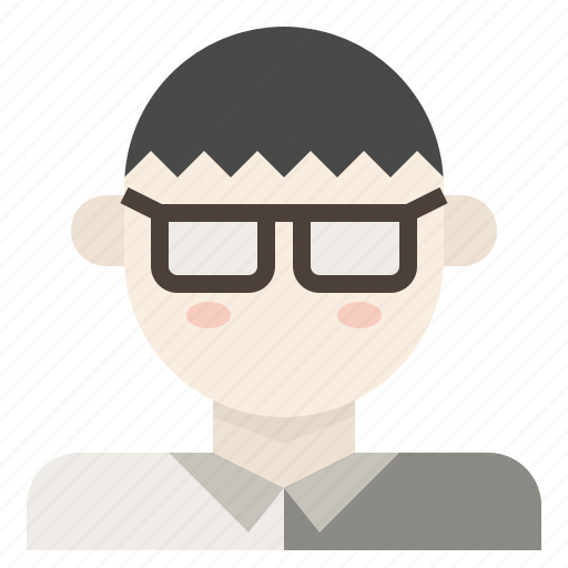asian, glasses, male, man, neard icon